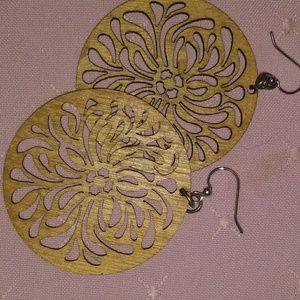Laser cut flower earrings oversize festival boho